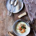 Potage Parmentier con Porcini, Pesce e uova di Salmone Keta